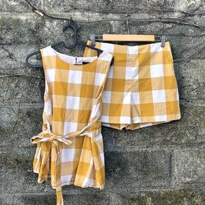 Ann Taylor Marigold Gingham Picnic Plaid Short Set